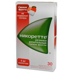 Никоретте, 4 мг, резинка жевательная, фруктовые, 30 шт.