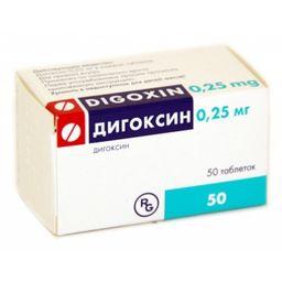 Дигоксин, 0.25 мг, таблетки, 50 шт.