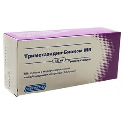 Триметазидин-Биоком МВ, 35 мг, таблетки с модифицированным высвобождением, покрытые оболочкой, 60 шт.