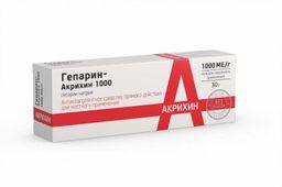 Гепарин-Акрихин 1000, 1000 МЕ/г, гель для наружного применения, 30 г, 1 шт.