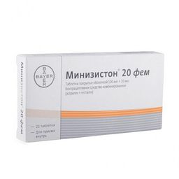 Минизистон 20 фем, 0.1 мг+0.02 мг, драже, 21 шт.