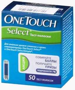 Тест-полоски OneTouch Select, 50 шт.