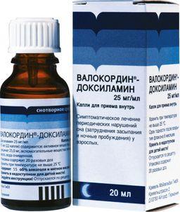 Валокордин-Доксиламин, 25 мг/мл, капли для приема внутрь, 20 мл, 1 шт.