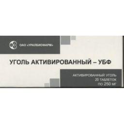 Уголь активированный-УБФ, 250 мг, таблетки, 20 шт.