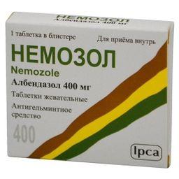Немозол, 400 мг, таблетки жевательные, 1 шт.
