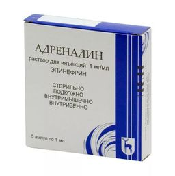 Адреналин, 1 мг/мл, раствор для инъекций, 1 мл, 5 шт.