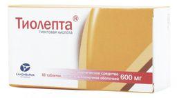 Тиолепта, 600 мг, таблетки, покрытые пленочной оболочкой, 60 шт.