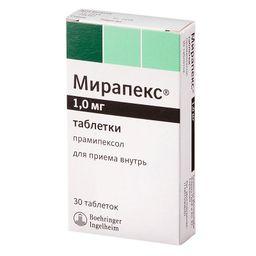Мирапекс, 1 мг, таблетки, 30 шт.