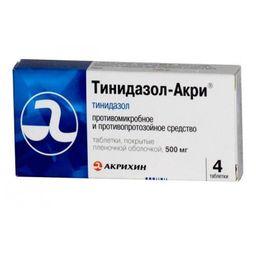 Тинидазол-Акри, 500 мг, таблетки, покрытые оболочкой, 4 шт.