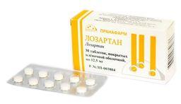 Лозартан, 12.5 мг, таблетки, покрытые пленочной оболочкой, 30 шт.