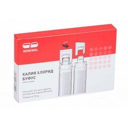 Калия хлорид буфус, 40 мг/мл, концентрат для приготовления раствора для инфузий, 10 мл, 10 шт.