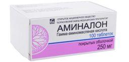 Аминалон, 250 мг, таблетки, покрытые оболочкой, 100 шт.