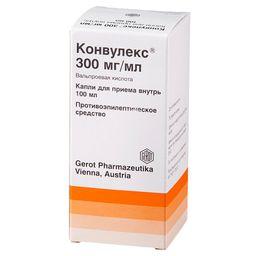 Конвулекс, 300 мг/мл, капли для приема внутрь, 100 мл, 1 шт.