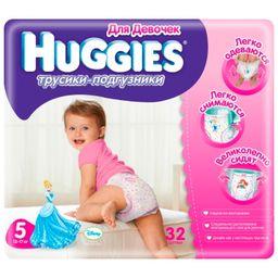Подгузники-трусики детские Huggies для девочек, 13-17 кг, р. 5, 32 шт.