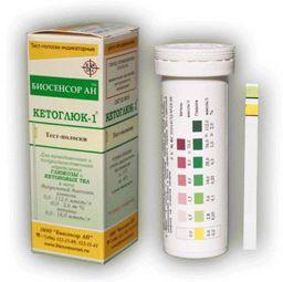Кетоглюк-1 полоски для определения глюкозы и кетоновых тел в моче, тест-полоска, 50 шт.