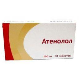 Атенолол, 100 мг, таблетки, покрытые пленочной оболочкой, 30 шт.