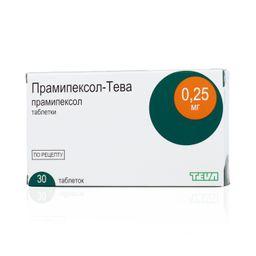 Прамипексол-Тева, 0.25 мг, таблетки, 30 шт.