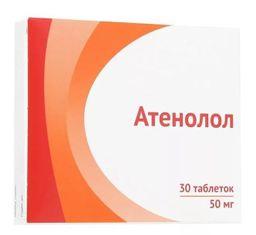 Атенолол, 50 мг, таблетки, покрытые пленочной оболочкой, 30 шт.