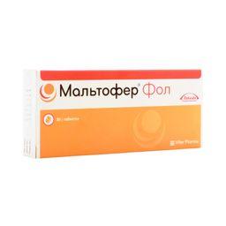 Мальтофер Фол, 100 мг+0.35 мг, таблетки жевательные, 30 шт.
