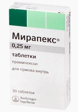 Мирапекс, 0.25 мг, таблетки, 30 шт.