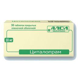 Циталопрам, 10 мг, таблетки, покрытые пленочной оболочкой, 30 шт.