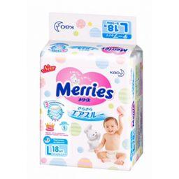 Подгузники детские Merries, 9-14 кг, р. L, 18 шт.