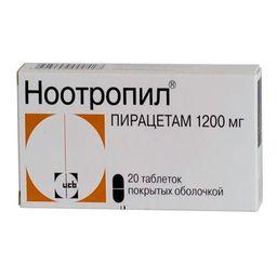 Ноотропил, 1200 мг, таблетки, покрытые оболочкой, 20 шт.